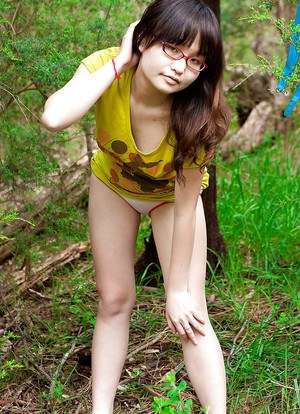 Sexy naked asian glasses, erotic ebony in nude